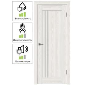 Дверь межкомнатная остеклённая с замком и петлями в комплекте Дельта вертикальная 60x200 см ПВХ цвет белёный дуб
