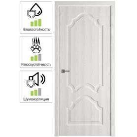 Дверь межкомнатная глухая с замком и петлями в комплекте Венеция 60x200 см ПП цвет белёный дуб
