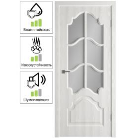 Дверь межкомнатная остеклённая с замком и петлями в комплекте Венеция 70x200 см ПП цвет белёный дуб