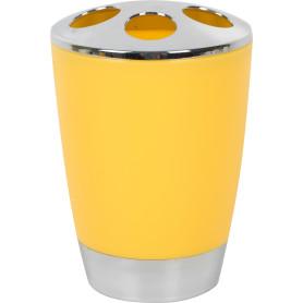 Стакан для зубных щёток «Альма» пластик цвет светло-жёлтый