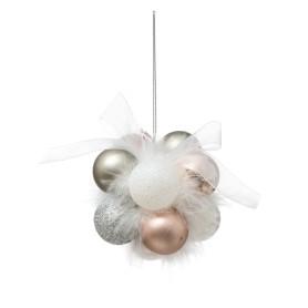 Украшение ёлочное «Гроздь из шаров», цвет белый/золотой