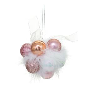 Украшение ёлочное «Гроздь из шаров», цвет золотой/белый/розовый