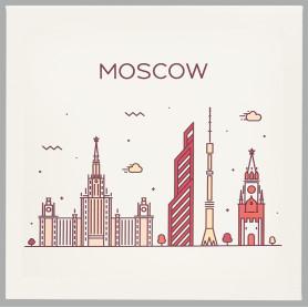 Картина на холсте «Москва» 30x30 см