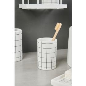 Стакан для зубных щёток La Scuola керамика цвет белый/чёрный