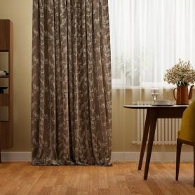 Штора на ленте «Верона», 160x280 см, растения, цвет серо-бежевый