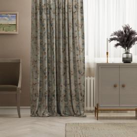 Штора на ленте «Цветы» 145х260 см цвет кремовый