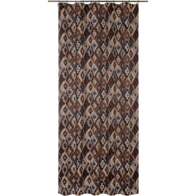 Штора на ленте «Марокко» 145x260 см геометрия цвет коричневый