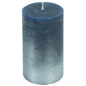 Свеча-столбик «Рустик», 7x13 см, цвет синий/серебро
