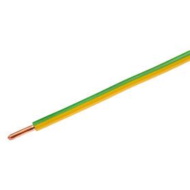 Провод Камкабель ПУВ 1x6, на отрез, ГОСТ, цвет зелёно-жёлтый