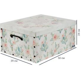 Коробка «Кактусы», 390x500x240 мм, 46.8 л, картон, цвет белый/мультиколор