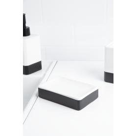 Мыльница Text керамика цвет чёрный/белый