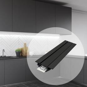 Профиль алюминиевый для светодиодной ленты, угловой, накладной, 1 м, цвет чёрный