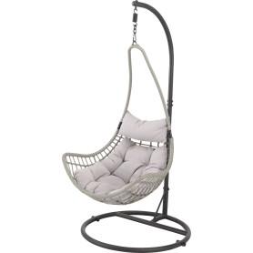 Кресло подвесное 95х95х196 см сталь/ полиротанг белый с опорой