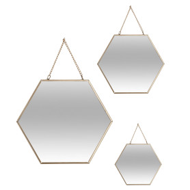 Зеркало шестиугольное металлическое 3 шт.