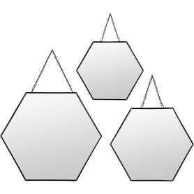 Зеркало декоративное шестиугольное цвет чёрный 3 шт.