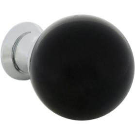 Ручка-кнопка мебельная KF10-12, хром, цвет черное стекло