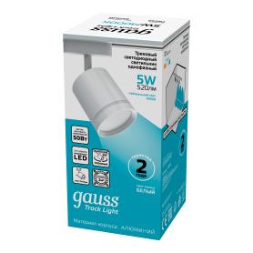 Трековый светильник светодиодный Gauss 5 Вт, 3 м², цвет белый