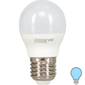Лампа светодиодная Gauss E27 6 Вт шар матовый 470 лм, холодный белый свет