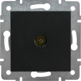 ТВ-розетка оконечная встраиваемая Lexman Виктория шлейф,цвет чёрный бархат матовый