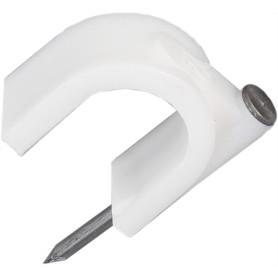 Скоба для электрокабеля круглая 12х17 мм, 30 шт.