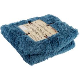 Плед декоративный 200х220 см, искусственный мех, цвет синий
