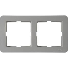 Рамка для розеток и выключателей Schneider Electric W59 Deco 2 поста, цвет платина