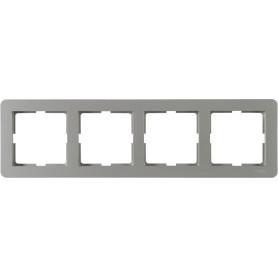 Рамка для розеток и выключателей Schneider Electric W59 Deco 4 поста, цвет платина