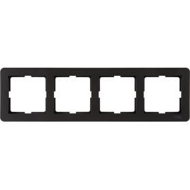 Рамка для розеток и выключателей Schneider Electric W59 Deco 4 поста, цвет графит