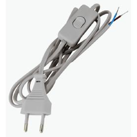 Шнур с выключателем 2 м, 220 В, цвет серый