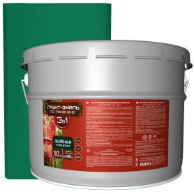 Грунт-эмаль по ржавчине 3 в 1 цвет зелёный 10 кг