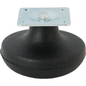Ножка мебельная скользящая на площадке 65 мм пластик цвет чёрный