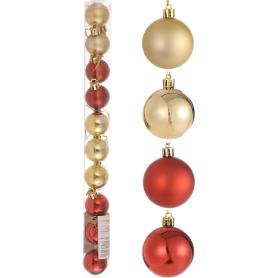 Набор ёлочных шаров 3 см цвет красный/золотой, 10 шт.