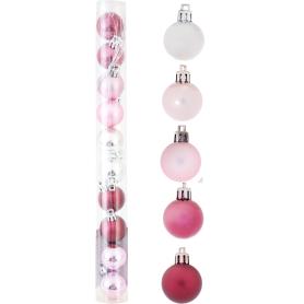 Набор ёлочных шаров 3 см цвет розовый/серебристый, 10 шт.
