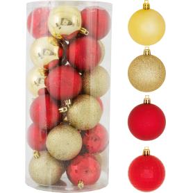 Набор ёлочных шаров 6 см цвет красный/золотой, 24 шт.