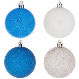 Набор ёлочных шаров 6 см цвет синий/серебристый, 12 шт.