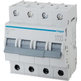 Выключатель автоматический Hager MC425A, 4 полюса 25 А, «C» 4P 6KA C-25A 4M