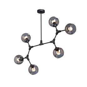 Люстра на штанге «Верба», 6 ламп, 18 м², цвет чёрный