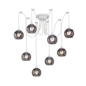 Люстра-паук Moon, 8 ламп, 24 м², цвет белый/чёрный