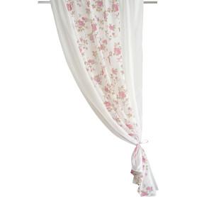 Тюль на ленте для кухни «Комби» 140x160 см цвет розовый/молочный