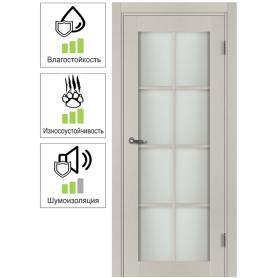 Дверь межкомнатная остеклённая с фурнитурой Пьемонт 80х200 см, Hardflex, цвет платина светлая