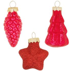 Набор ёлочных украшений «Шишки» 9 см стекло цвет красный, 14 шт.