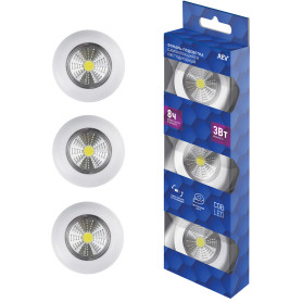 Светодиодный фонарь-подсветка Pushlight 3 Вт на батарейках (комплект из 3 шт.), цвет белый