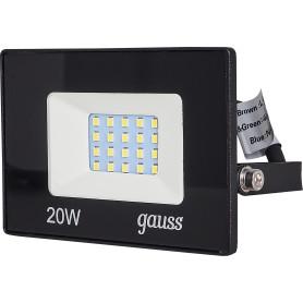 Прожектор светодиодный уличный Gauss Basic 20 Вт 6500К IP65, цвет чёрный