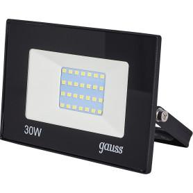 Прожектор светодиодный уличный Gauss Basic 30 Вт 6500К IP65, цвет чёрный