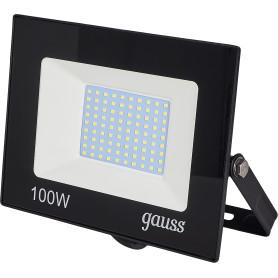 Прожектор светодиодный уличный Gauss Basic 100 Вт 6500К IP65, цвет чёрный