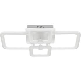 Люстра потолочная светодиодная квадратная 03 с пультом управления, 40 м², регулируемый белый свет, цвет белый