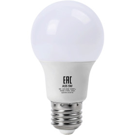 Лампа светодиодная A55 E27 220 В 5 Вт груша матовая 475 лм, нейтральный белый свет