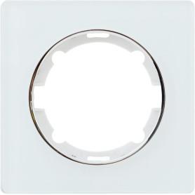 Рамка для розеток и выключателей Onekey Florence 1 пост, стекло, цвет белый