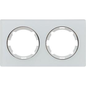 Рамка для розеток и выключателей Onekey Florence 2 поста, стекло, цвет белый