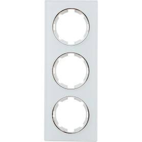Рамка для розеток и выключателей Onekey Florence 3 поста, стекло, цвет белый